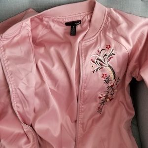 Aqua Baby Pink Embroidered Bomber Jacket size S